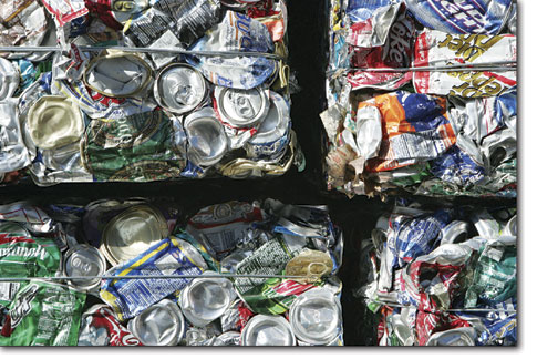 Four large blocks of aluminum cans rest outside the Durango Recycling Center on Monday awaiting their ship date.