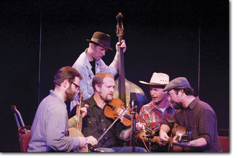 The Foghorn Stringband performs one last tune before ending their set at the Diamond Circle Theatre Saturday.