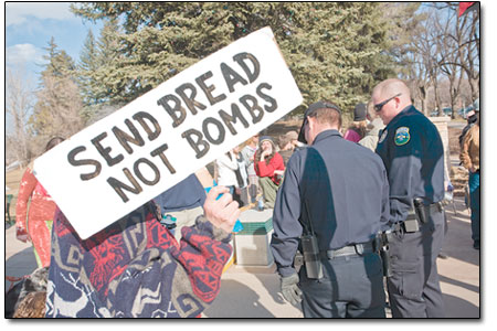 The Durango Police Department kept a close eye on the peaceful gathering.