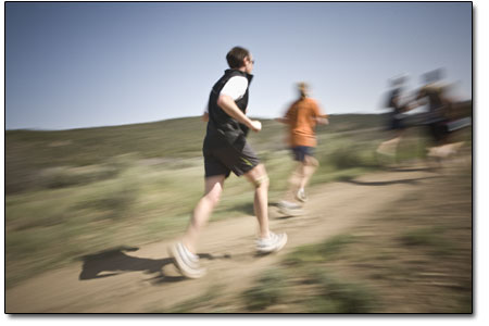 Runners glide swiftly through the gentle terrain of the meadowsprior to approaching the less kind Telegraph climb.