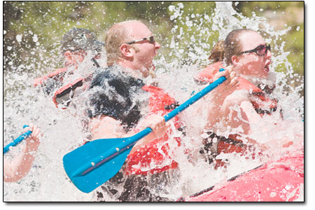 Rafters get a literal taste of the Animas on Saturday afternoon.