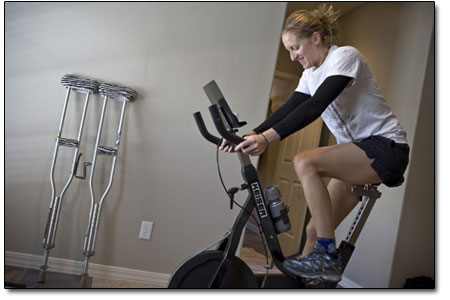 Kristin spins 30 painful minutes a day, to keep tendons and ligaments limber and muscle atrophy at bay.